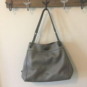 Coach bag, gray, dark silver metal.